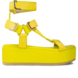 Women's Ankle T-Strap Yellow Platform Espadrilles
